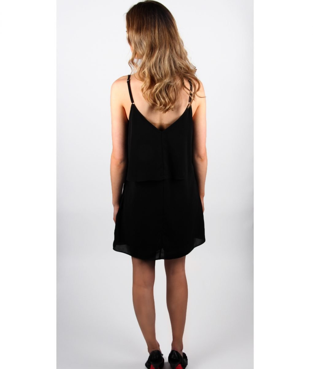Alila Black Chiffon Layer top dress back