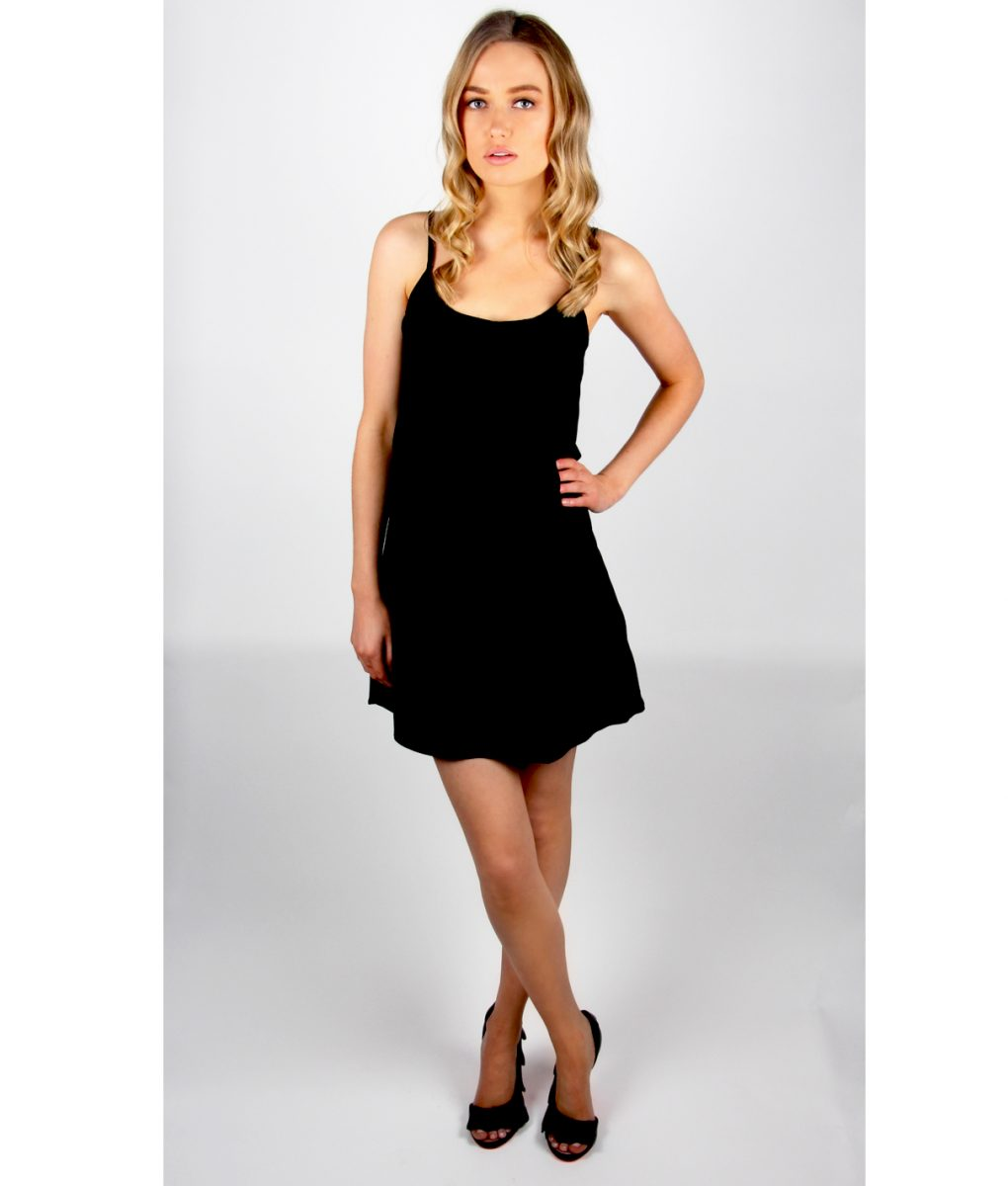 Alila Black Chiffon Layer top dress front