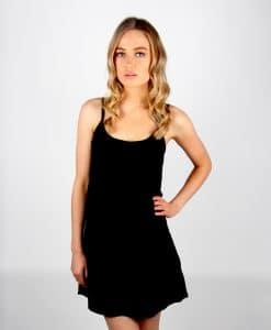 Alila Black Chiffon Layer top dress front half