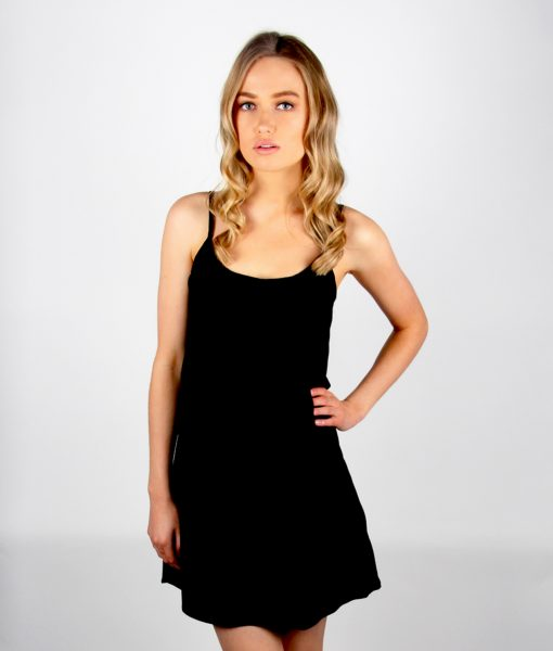 Alila Black Chiffon Layer top dress front half