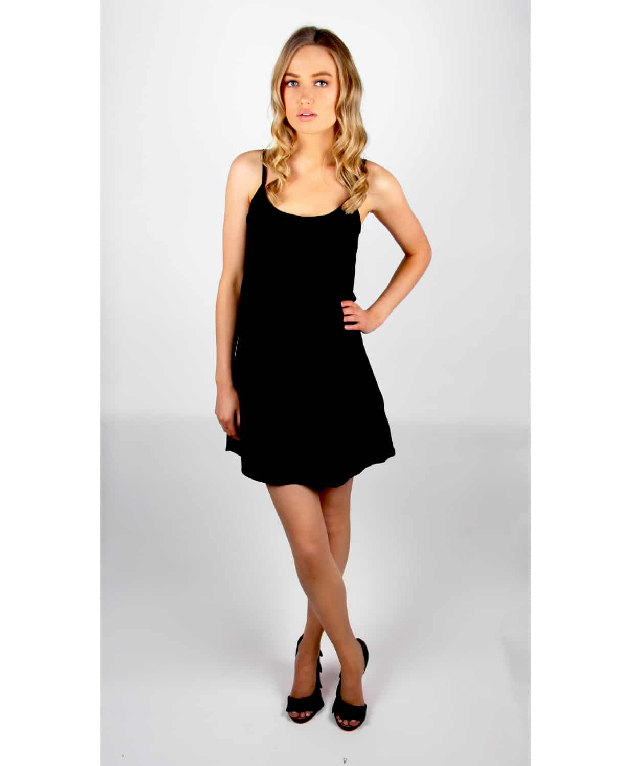84254e3bba Black Layered Summer Dress with V-Lace Detail - Alila