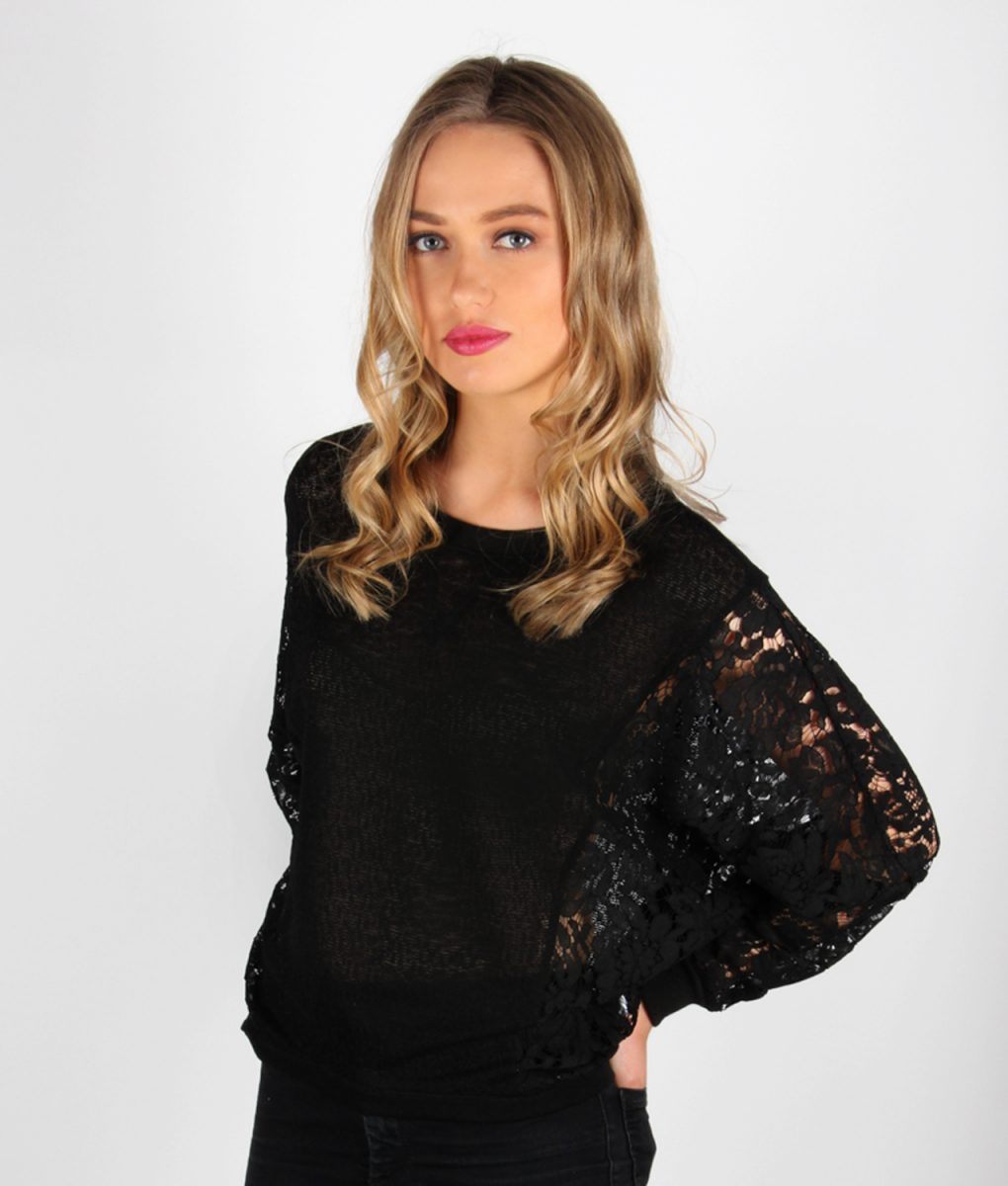 Alila Black Lace jumper front detail