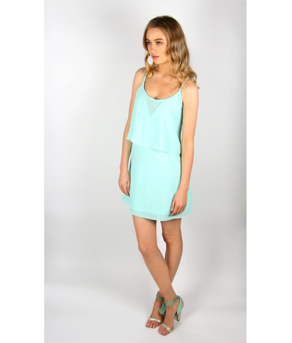 Alila Mint Chiffon Layered Dress front