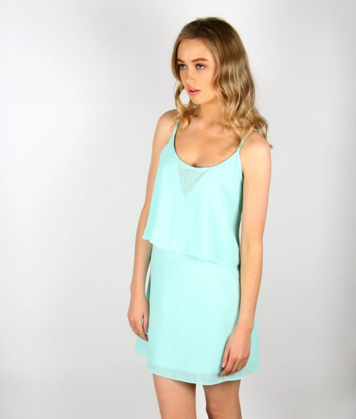 Alila Mint Chiffon Layered Dress front detail