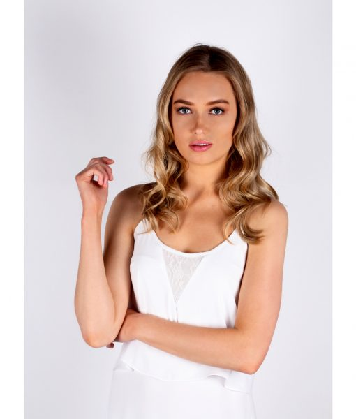 Alila White Chiffon Layered dress front detail