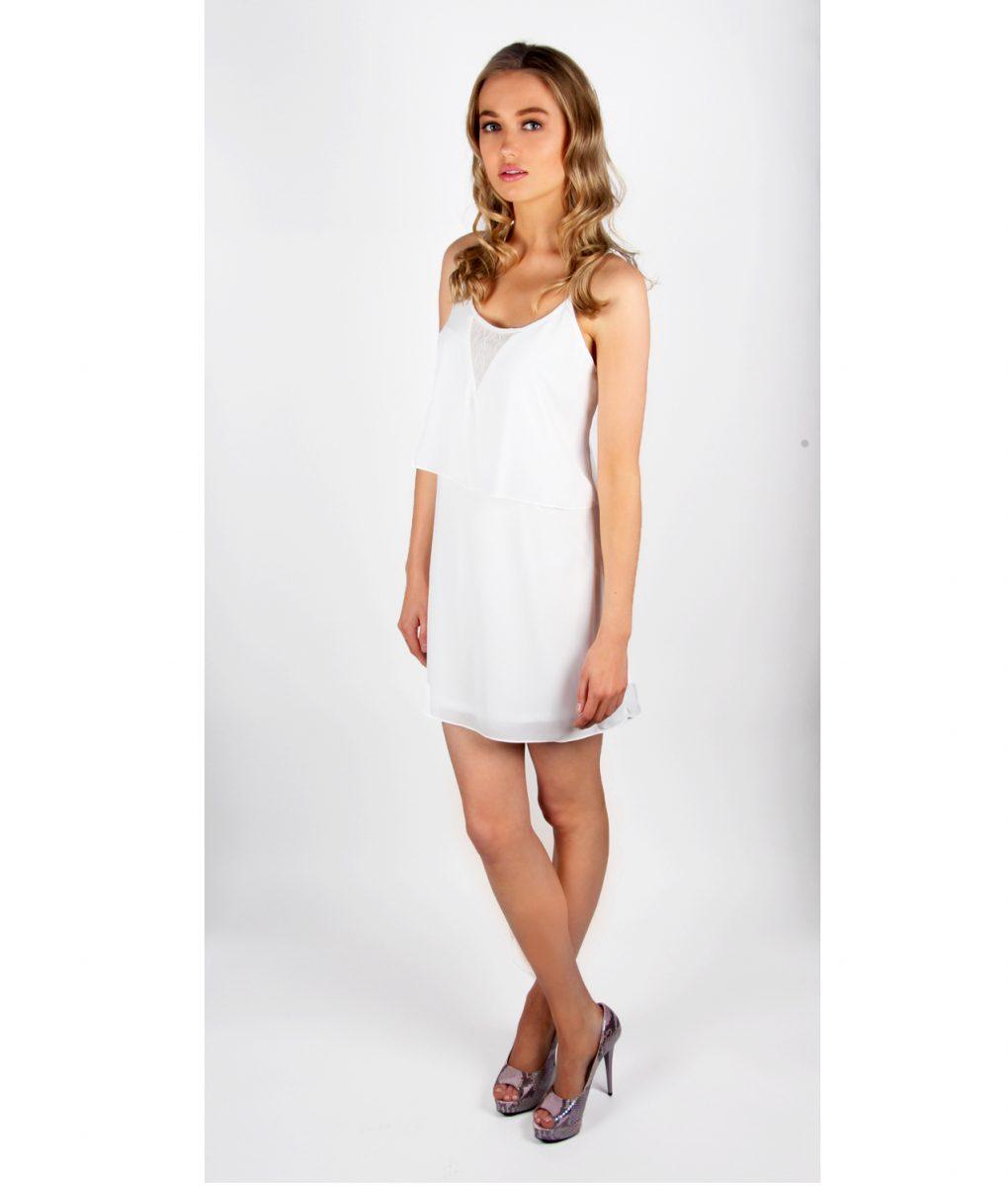 Alila White Chiffon Layered dress front long