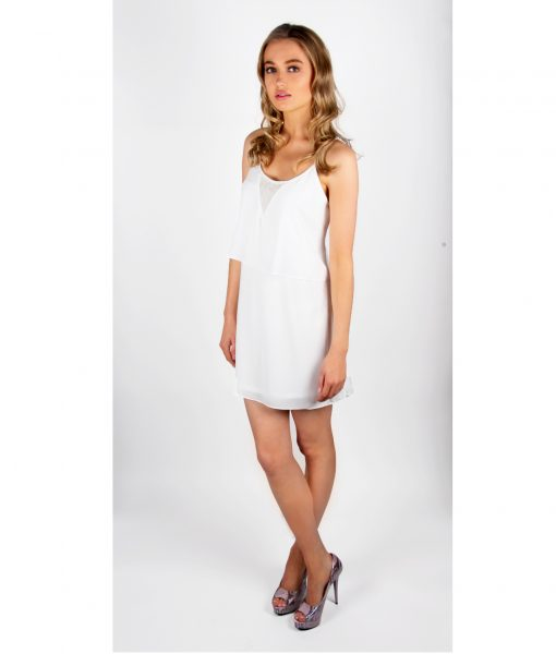 Alila White Chiffon Layered dress front long