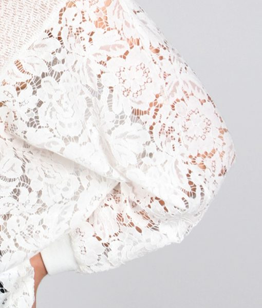 Alila White Lace sleeve jumper detail