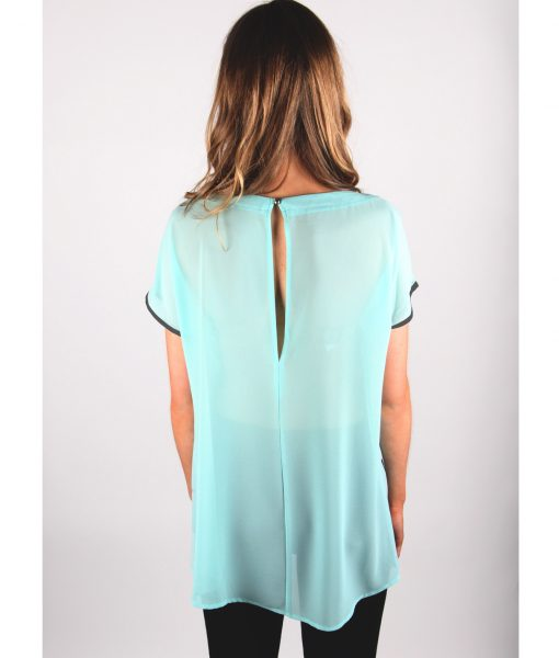 French Alila Baby Blue Patter Top Back