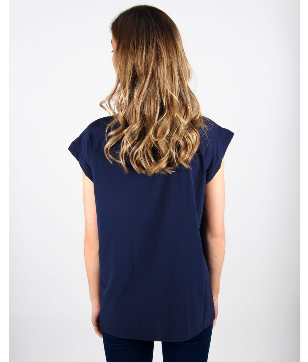 French Alila Navy V-detail Top Back