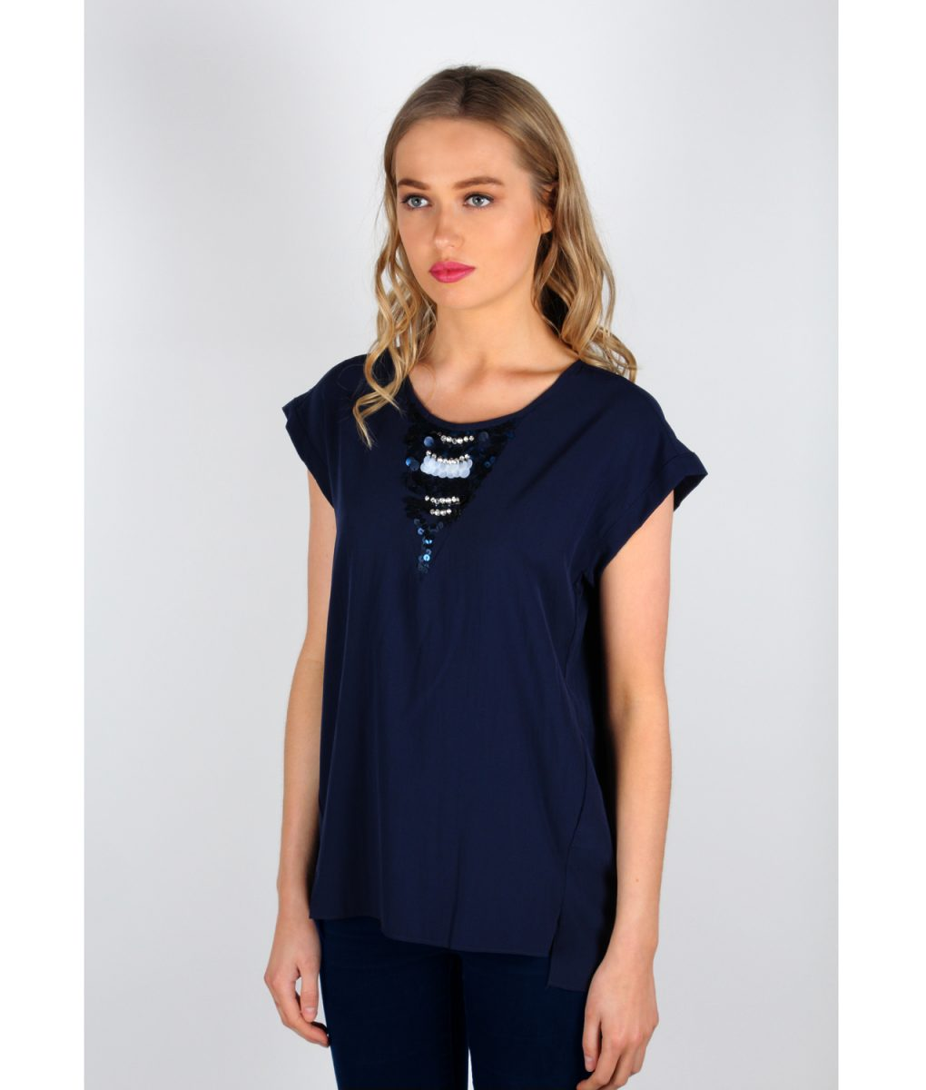 French Alila Navy V-detail Top front