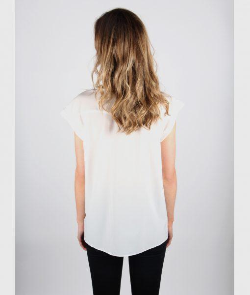 French Alila White V-detail top Back