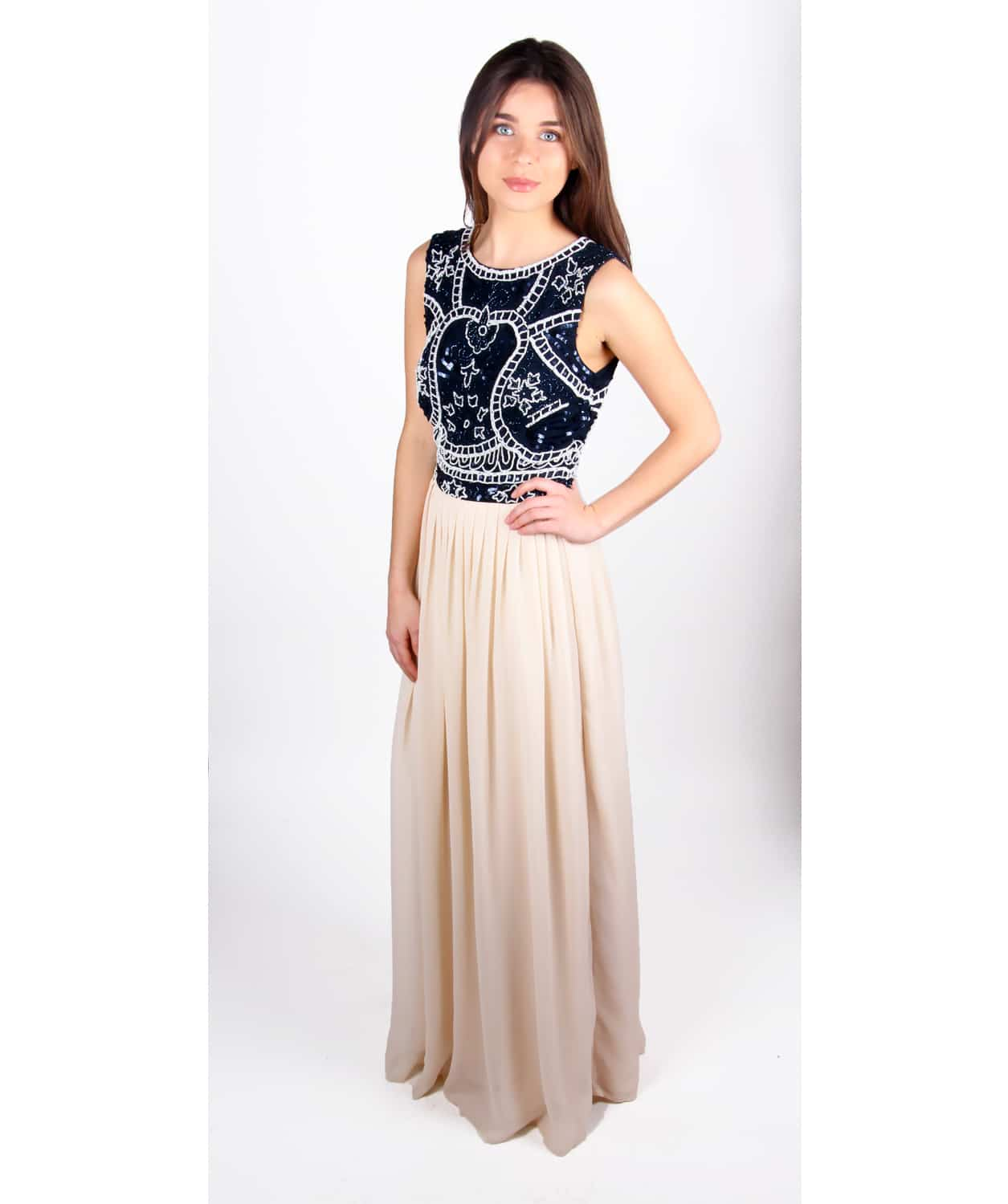 d3ff7c1a6 Alila Navy and Cream beaded Gown by Lace & Beads.