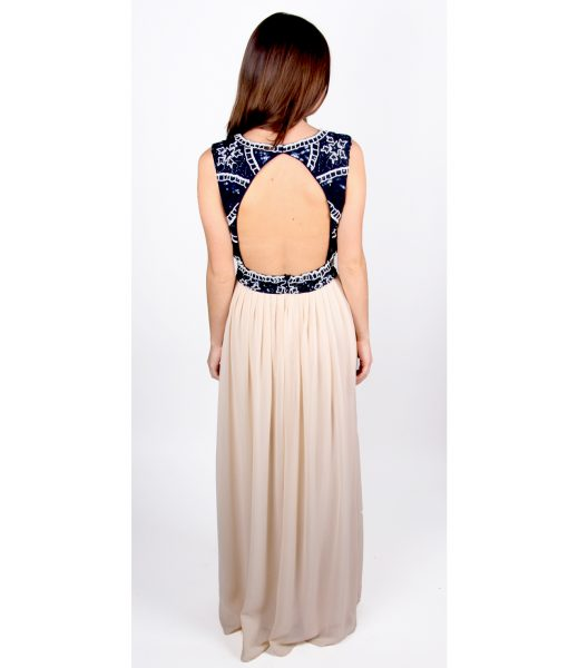 Alila Navy and Cream beaded Gown by Lace & Beads.
