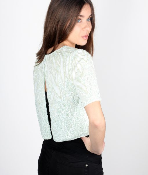 Lace and Beads Mint Top Back