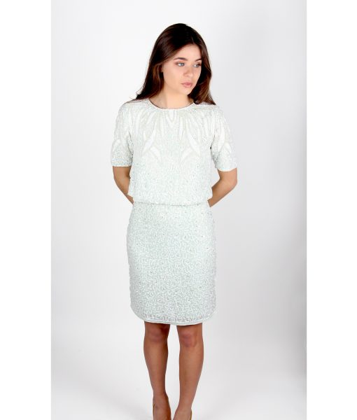 Lace and Beads Mint dress front with top2