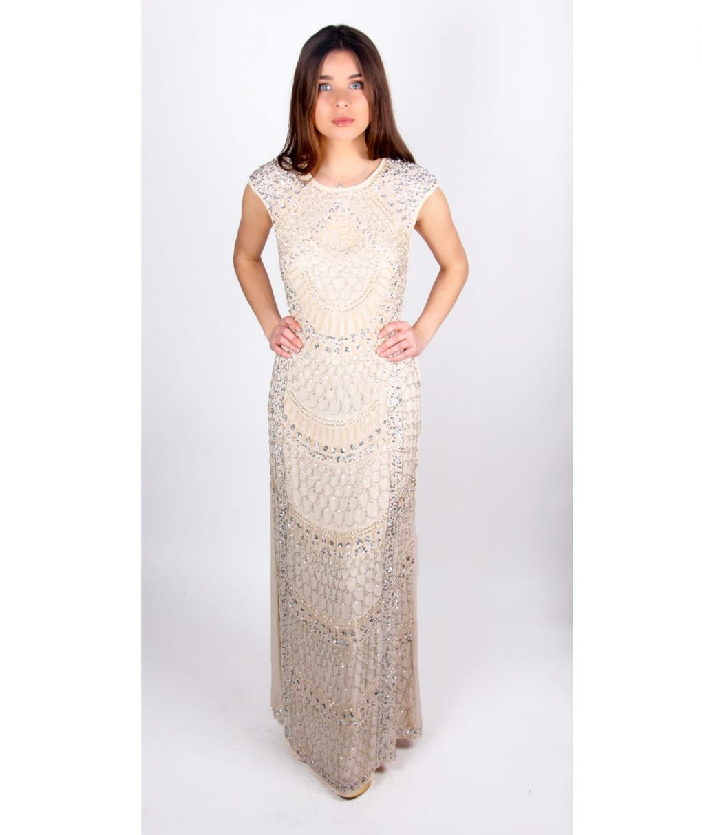 Alila Taupe Sequin Gown by Lace & Beads.