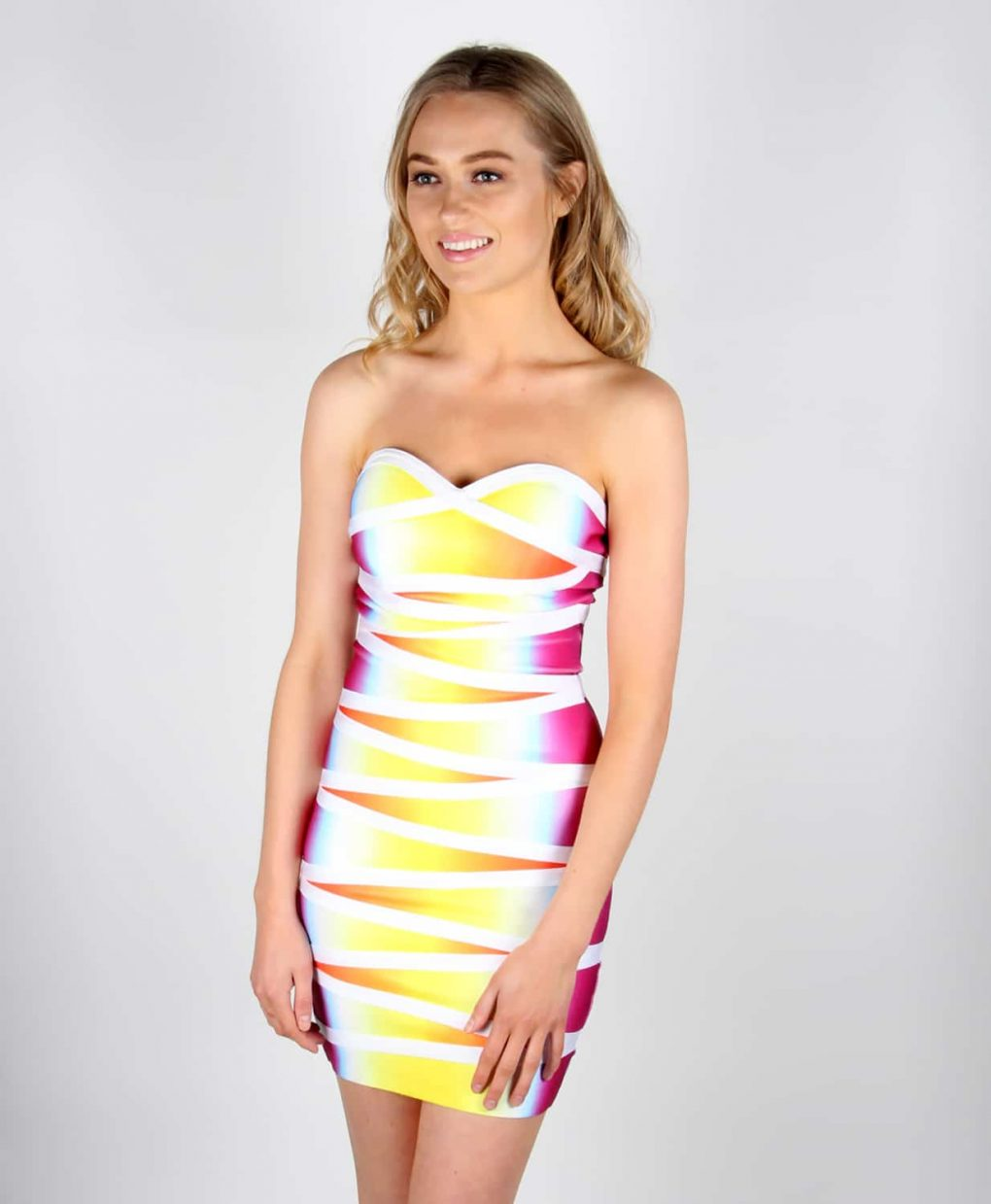 Alila Rainbow Bodycon Bandage Dress By Wow Couture.