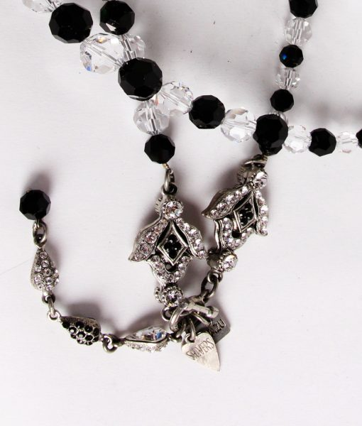 Otazu long black and clear Swarovski large crystal necklace