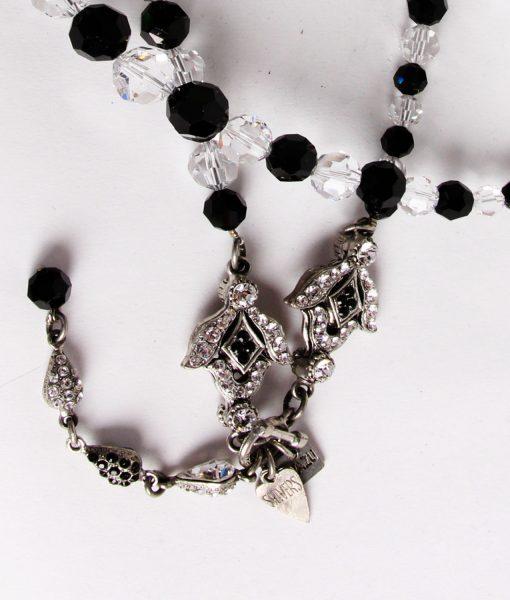 Otazu long black and clear Swarovski large crystal necklace