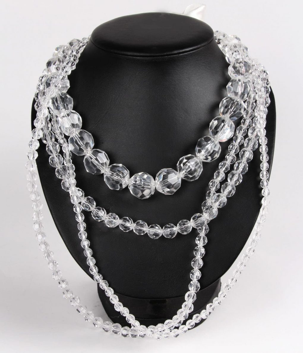 Alila Ribbon Ties Clear Beads Four Layers Necklace