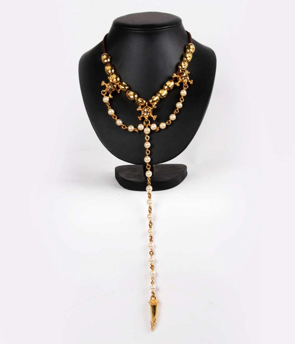 Alila Otazu Gold Skull Long Rosary Necklace