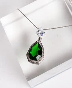Emerald and CZ pendant