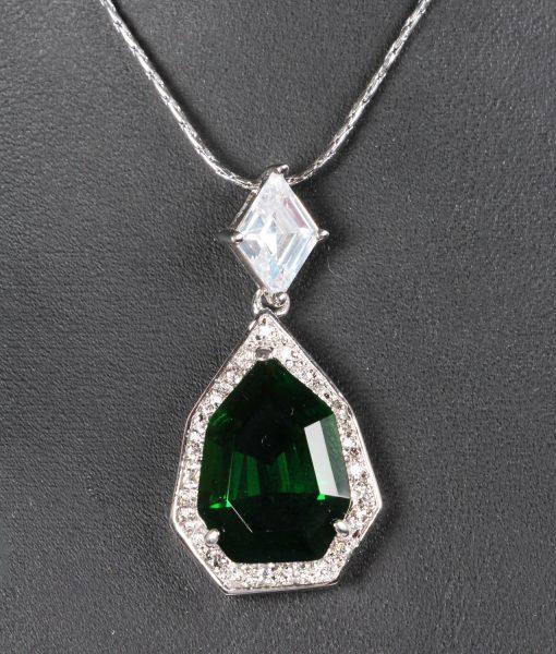 Emerald and CZ pendant