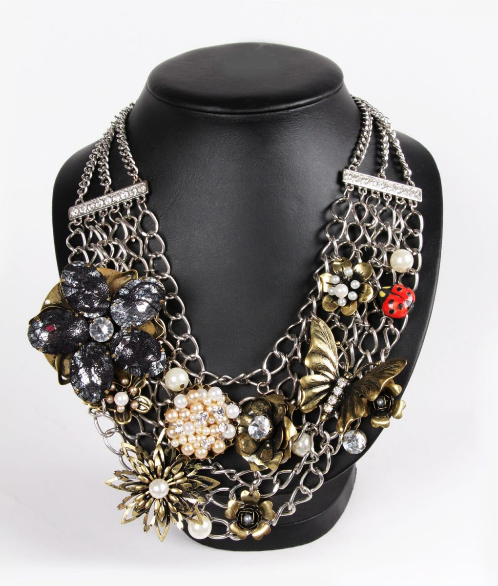 Ladybird and Flowers Statement Necklace