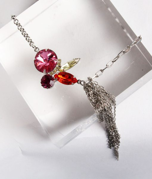 Contrasting Chains Pink Swarovski Necklace
