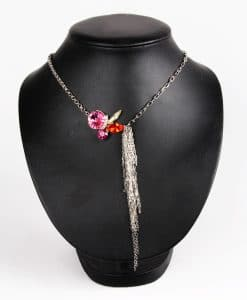Contrasting Chains Pink Swarovski Necklace