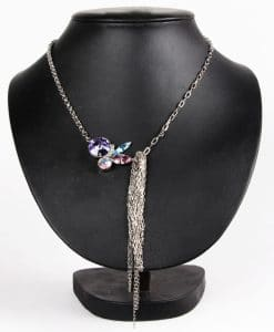 Contrasting Chains Purple Swarovski Necklace