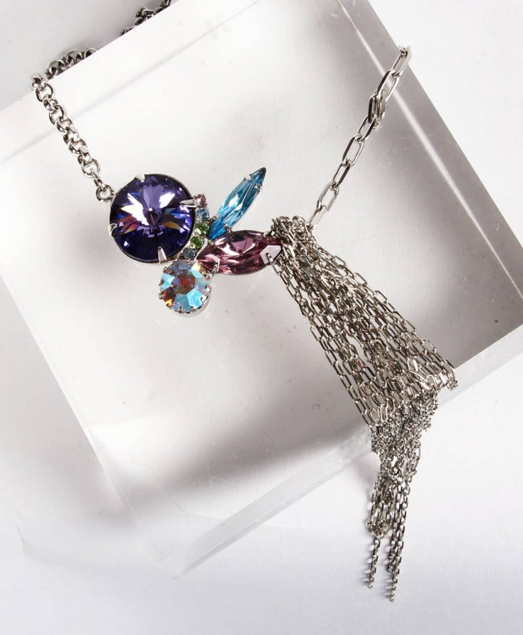 Contrasting Chains Purple Swarovski Necklace