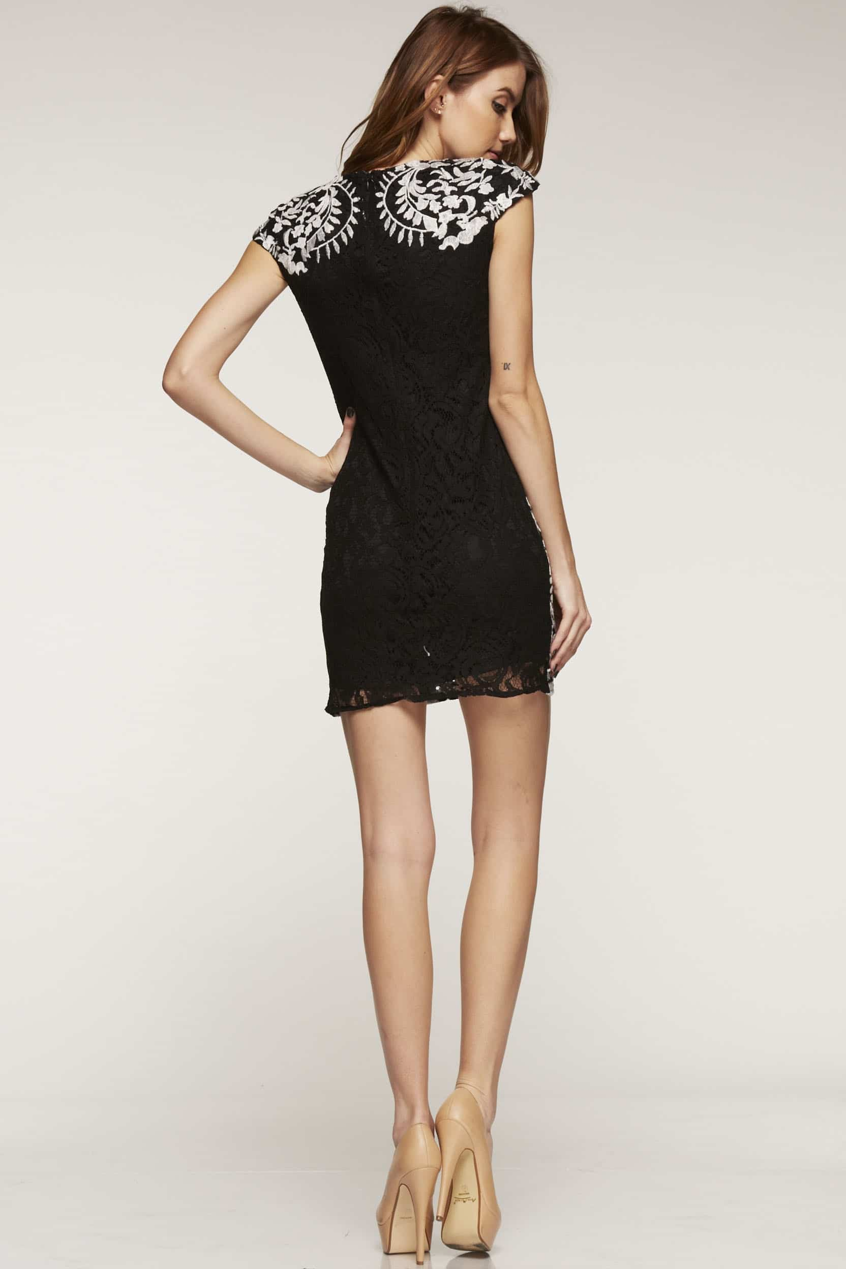 chanel inspired lace shift dress in black  white  alila