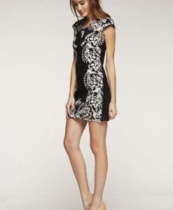 Black and white lace party shift dress