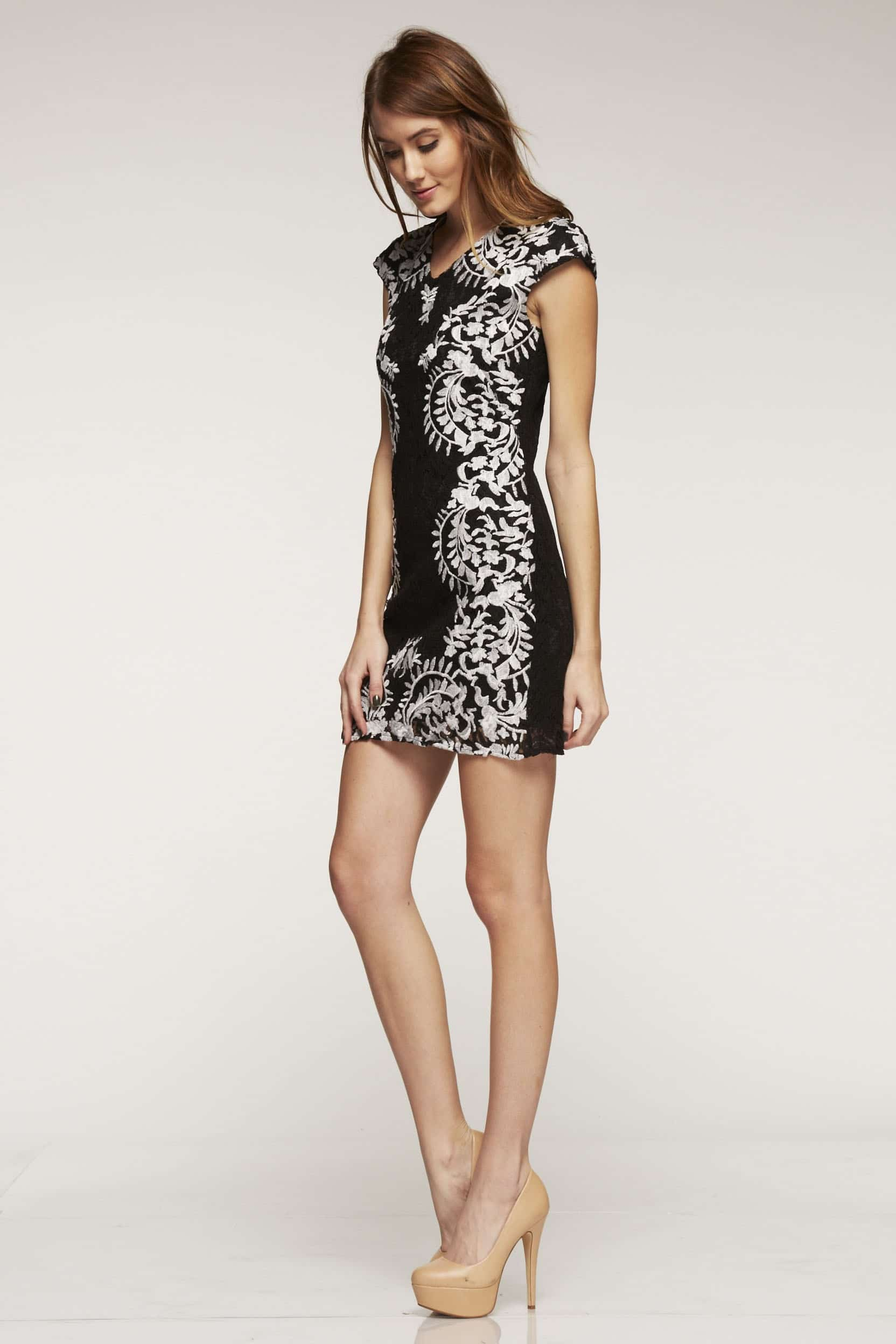 Chanel Inspired lace Shift Dress in Black & White