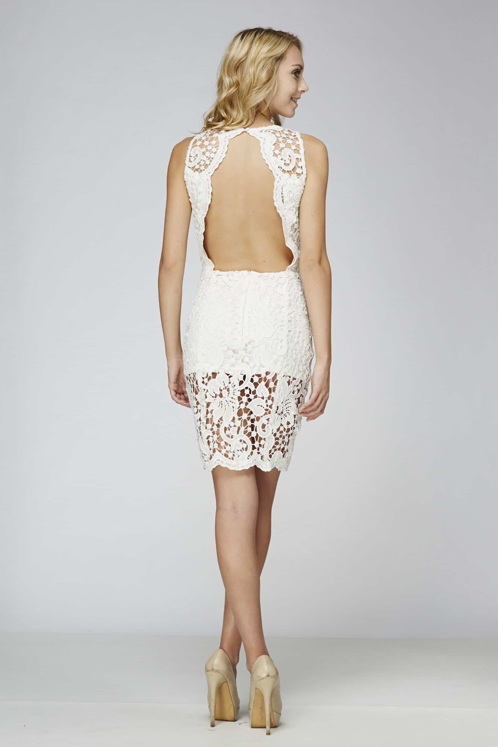 White backless dress lace alila boutique