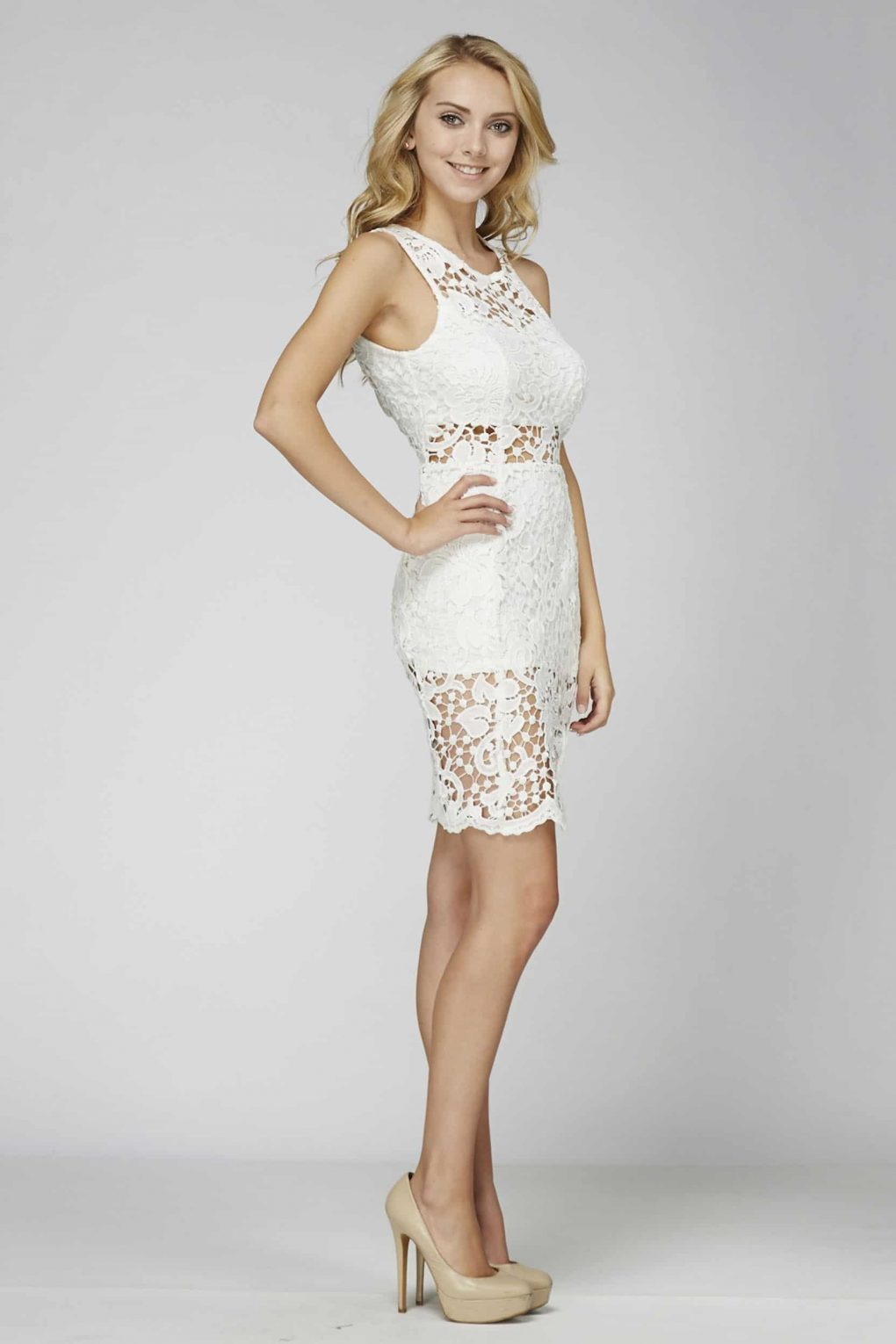 Alila Boutique White Lace backless Dress.