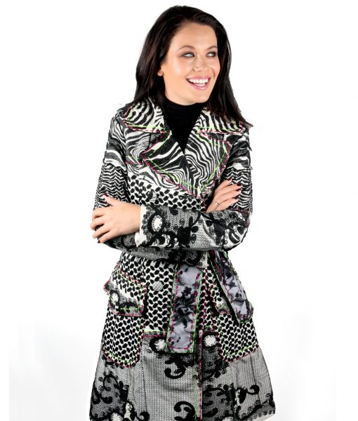 Black Lace embroidered trench coat OTT Alila