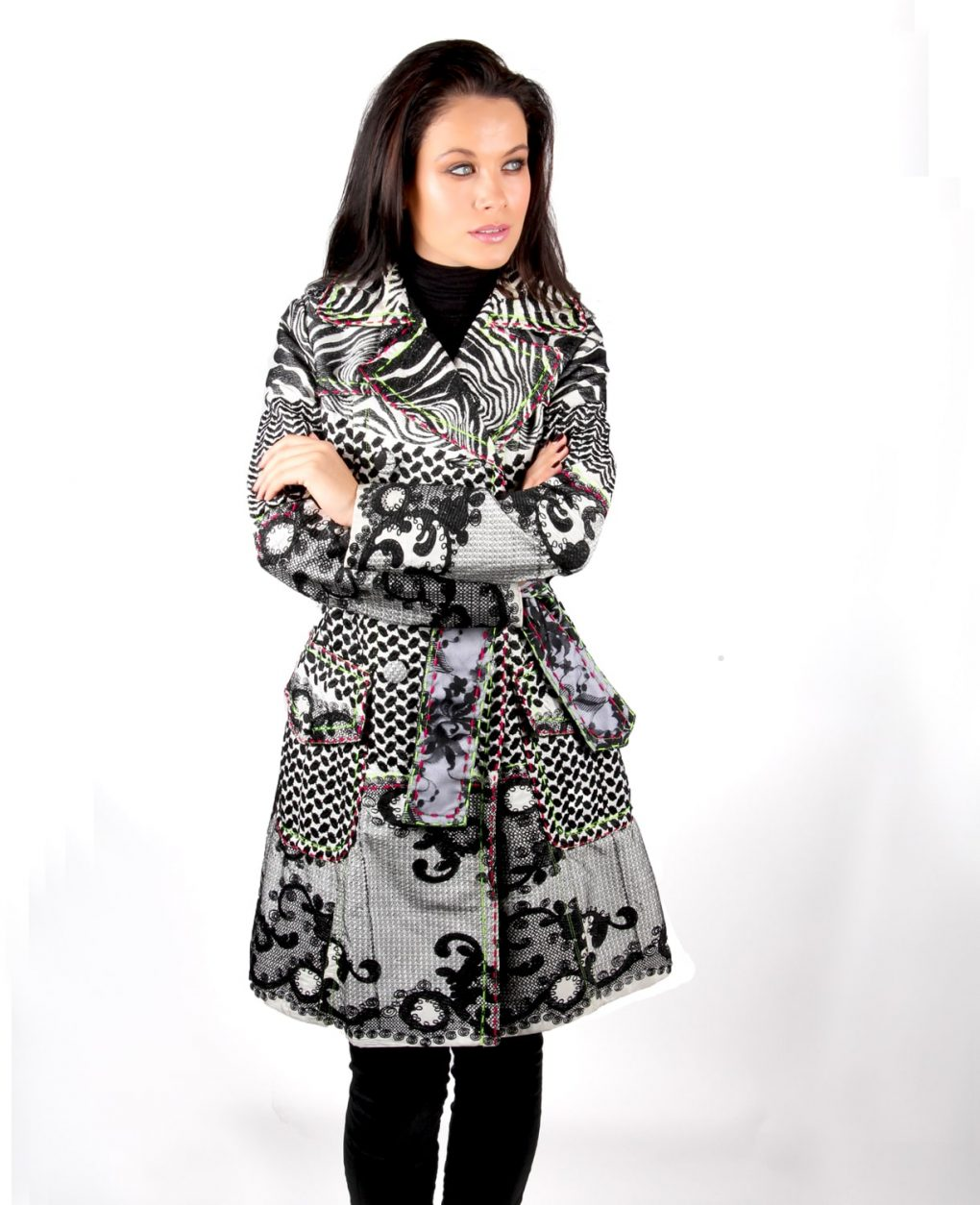 Black Lace and embroidered trench coat OTT Alila