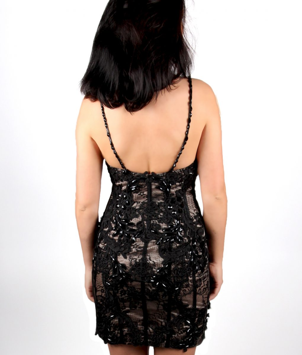 Black Lace beaded cocktail dress by Musani – back
