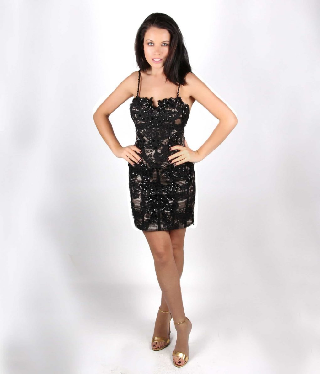 Black Lace beaded cocktail dress by Musani - Alila