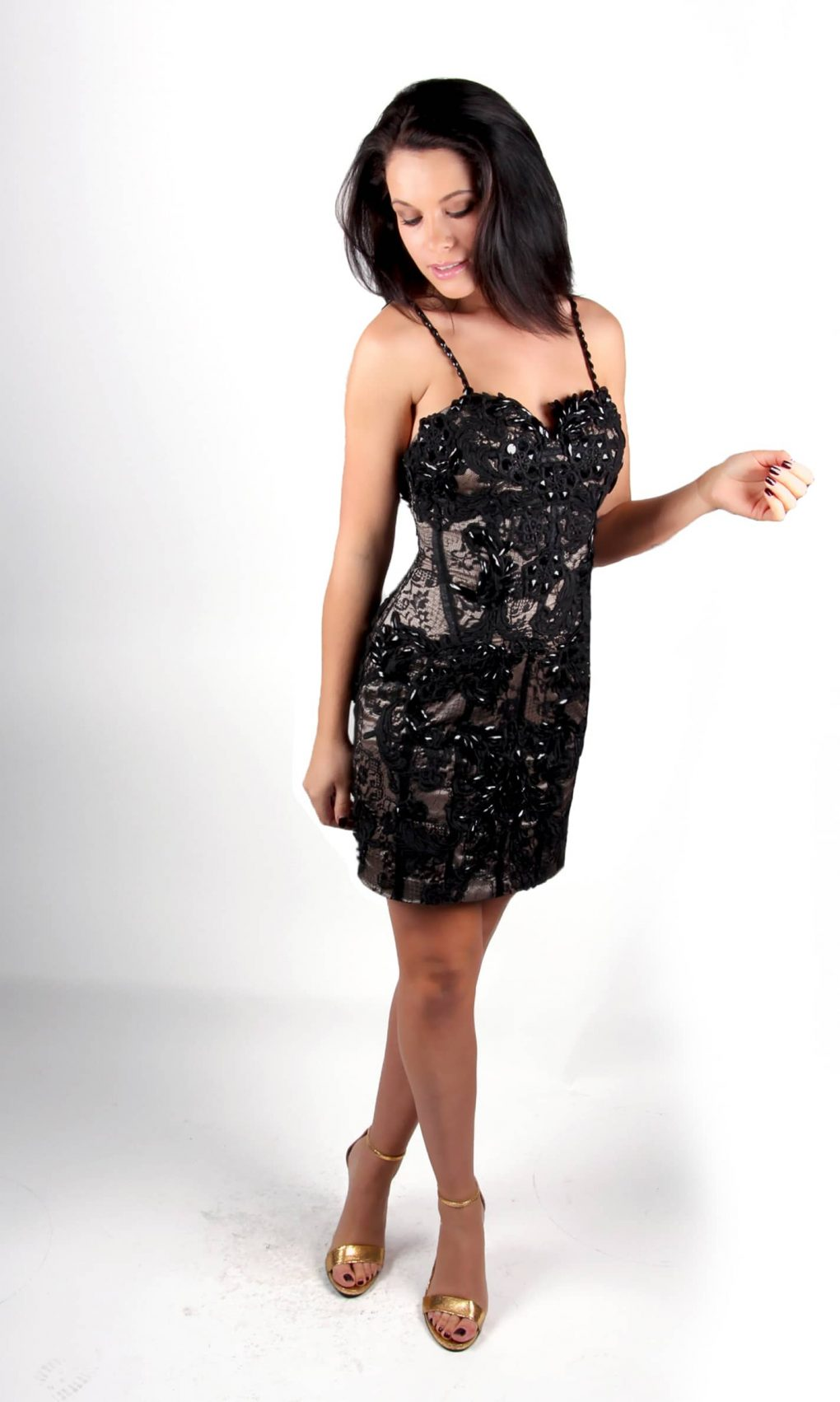 Black Lace beaded cocktail dress by Musani - side - Alila