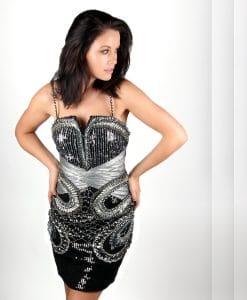 black silver sequin embellished cocktail dress