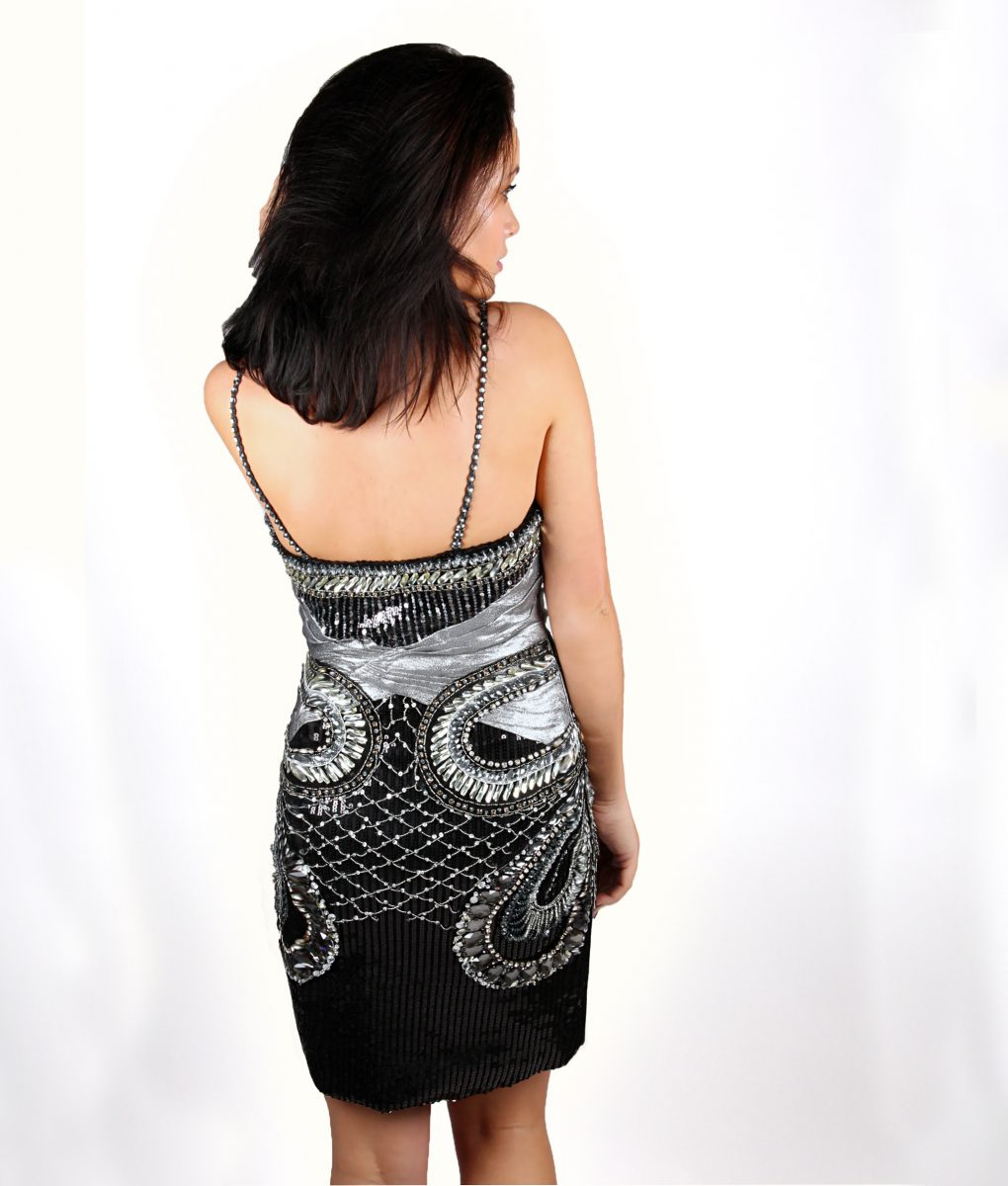 Black and silver sequin embellished dress by Musani – Shakira dress – Alila – back