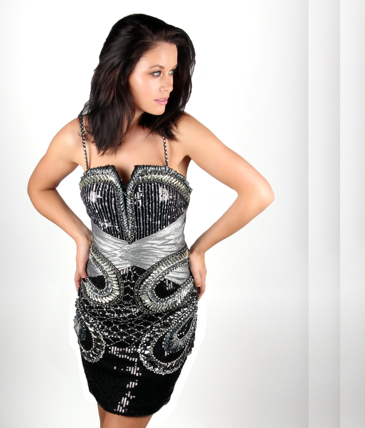 b07a2c2844c6 black silver sequin embellished cocktail dress