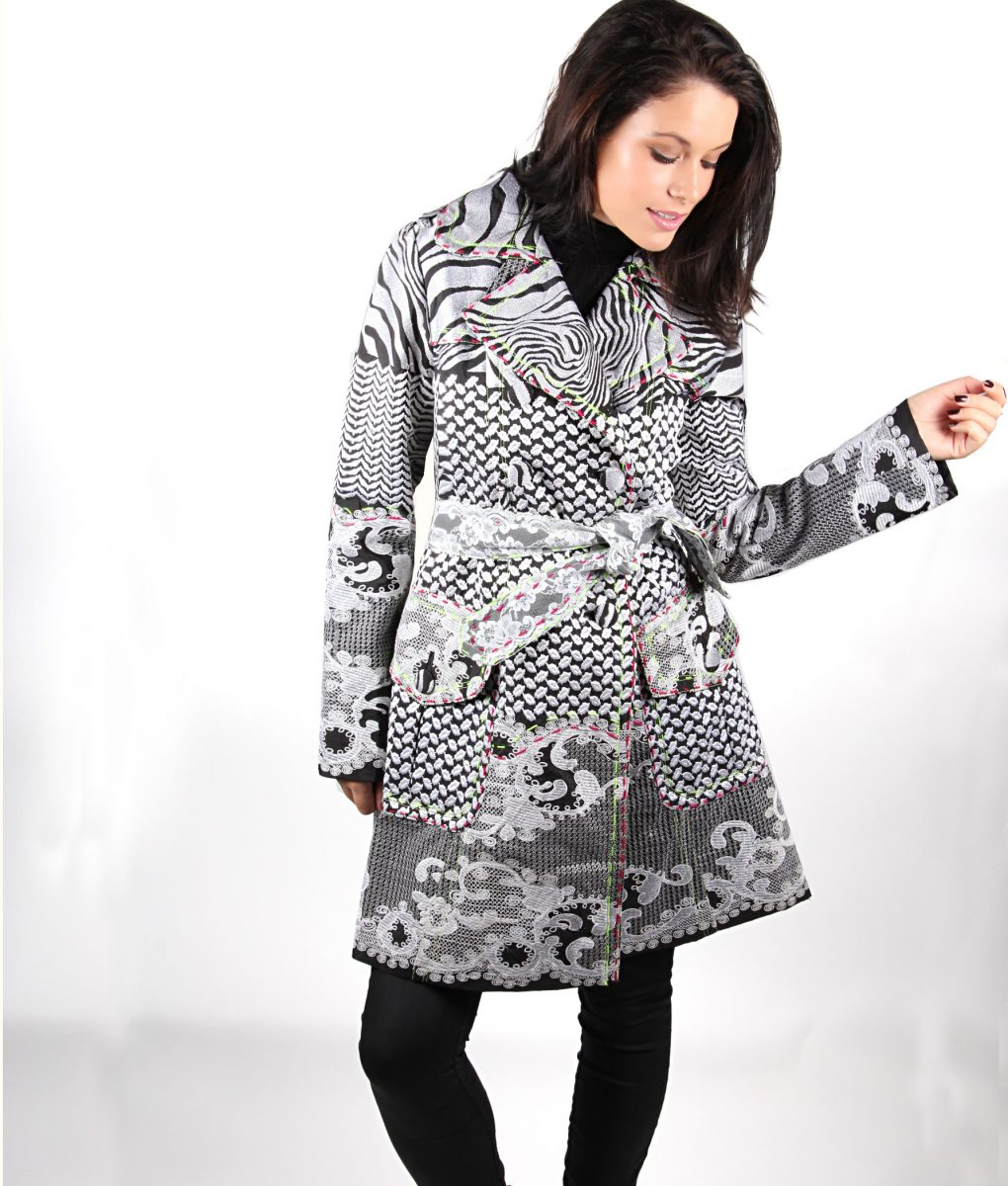 Black and white embroidered trench coat OTT Alila