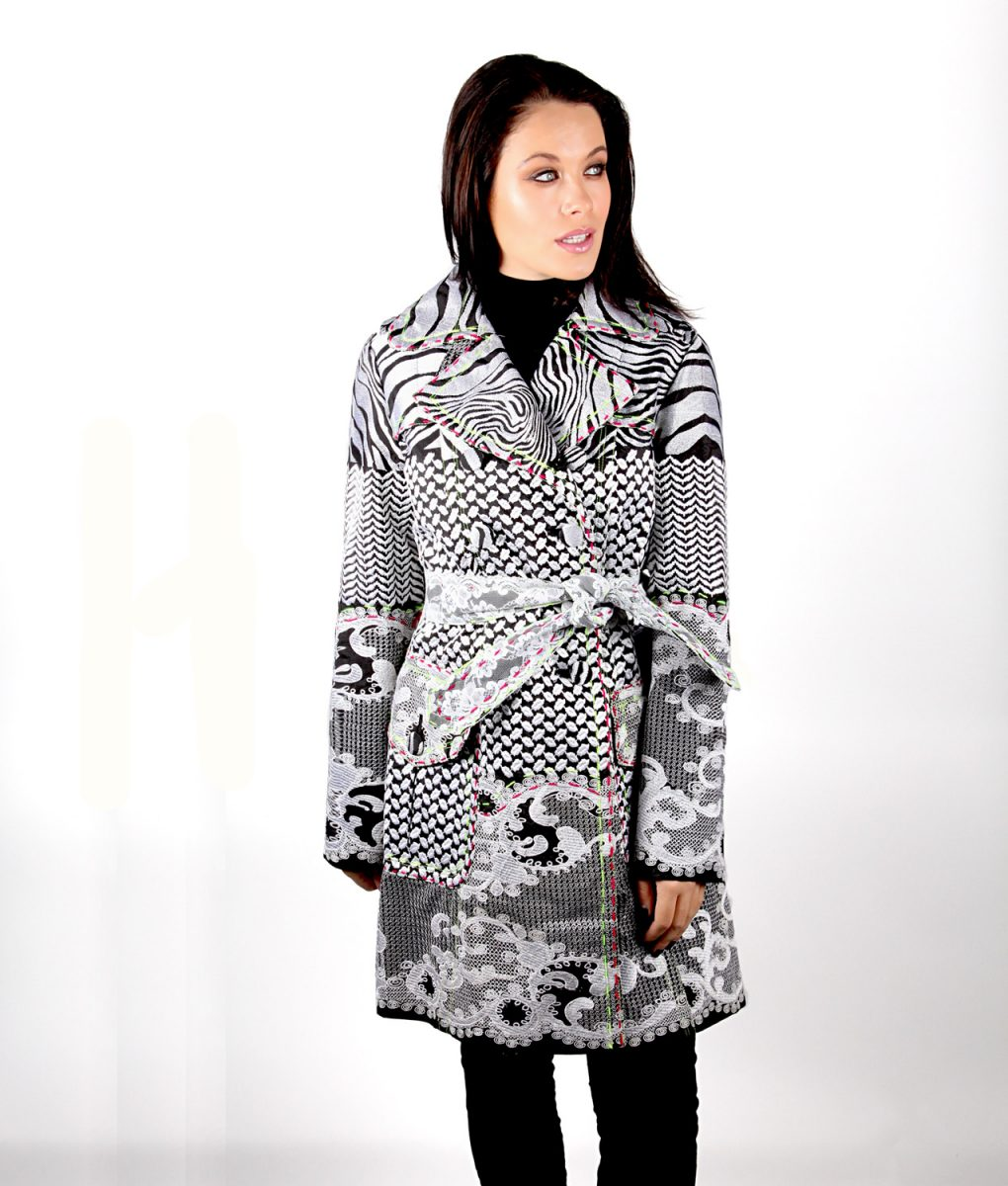 Black and white embroidered trench coat OTT Alila w