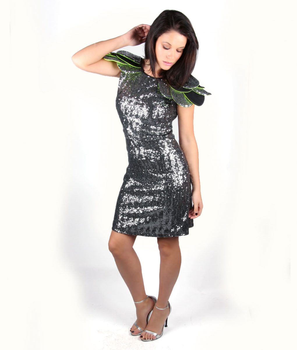 Grey sequin party dress with layered shoulder detail – Alila 2