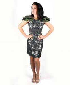 Grey sequin party dress with layered shoulder detail - Alila